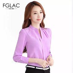Blusas de gasa FGLAC Nuevo 2018 camisa de mujer de moda Casual de manga larga Camisa de gasa elegante Delgado color sólido mujer blusas camisa