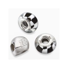 Insignia Collection Nascar Kyle Busch Sterling Silver 18 Helmet and Checkered Flag Bead Set, Black