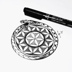 Ouroboros and flower of life flash for Alex today. Since the base design is pretty general I personalized it with two steps gradient on the flower of life. #tattooflash #tattoodesign #tattoo #illustration #drawing #snaketattoo #ouroboros #ouroborostattoo #floweroflife #flowerodlifetattoo #dotwork #pointillism #blackwork #inktober #inktoberindonesia
