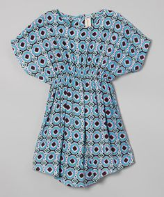 Another great find on #zulily! Yo Baby Blue Daisy Dot Dolman Dress - Toddler & Girls by Yo Baby #zulilyfinds