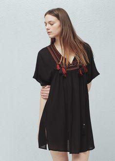Kleid mit besticktem einsatz -  Damen | MANGO