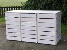 3er Mülltonnenbox Holz, Transparent Geölt Weiß, für 120 L + 240 L Mülltonnen