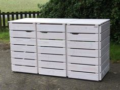3er Mülltonnenbox Holz, Transparent Geölt Weiß