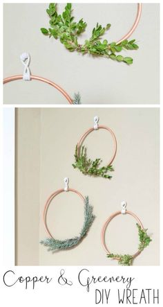 Simple DIY Copper and Greenery Wreath - Refresh Living Christmas Wreaths To Make, How To Make Wreaths, Christmas Diy, Christmas Decorations, Wire Crafts, Wreath Crafts, Diy Wreath, Copper Decor, Easy Diy