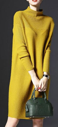 Buy 3 Enjoy OFF Now! (Code: Stand Collar A-line Women Daily Knitted Casual Long Sleeve Knitted Solid Casual Dress Hot Sale!Buy 3 Enjoy OFF Now! (Code: Stand Collar A-line Women Daily Knitted Casual Long Sleeve Knitted Solid Casual Dress Estilo Fashion, Look Fashion, Winter Fashion, Trendy Dresses, Nice Dresses, Casual Dresses, Women's Dresses, Mode Outfits, Fashion Outfits