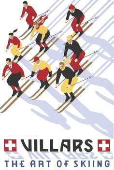 'Villars: Fast Formation' - by Charles Avalon - Vintage travel posters - Skiing Winter Sports posters - Art Deco - Pullman Editions Vintage Ski Posters, Retro Poster, Poster Art, Evian Les Bains, Nordic Skiing, Alpine Skiing, Retro Illustration, Travel Illustration, Art Deco
