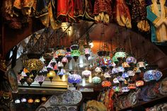 colorful lights at spice bazaar istanbul