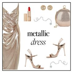 """Metallic Dress"" by rasa-j ❤ liked on Polyvore featuring River Island, Grace Lee Designs, Halston Heritage, Estée Lauder, womensFashion and metallicdress"