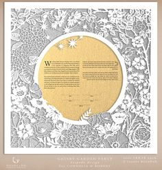 https://flic.kr/p/hR5pyN | Gatsby Garden Party ketubah preview | Custom order, handmade papercut tketubah Design: Gatsby Garden Party Size: 18X18 inches Shimmer gold text layer, hand-painted metallic silver background