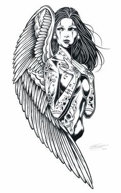 Adam Isaac Jackson ~ Synteza historii i sztuki   Angel Fantasy Myth Mythical Legend Wings Warrior Valkyrie Anjos Goth Gothic Coloring pages colouring adult detailed advanced printable Kleuren voor volwassenen coloriage pour adulte anti-stress kleurplaat voor volwassenen
