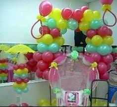 Semi Quad Balloon Arch, Pink Shower Chair & Umbrella Stand