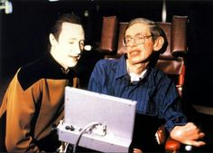 Data Star Trek TNG with stephen freaking hawking! This picture could not be mpre amazing!!!