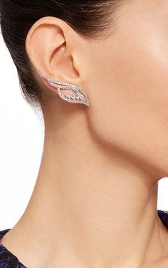 Flow Small Four Line Earrings With Pear Shaped Diamonds by AS29 for Preorder on Moda Operandi