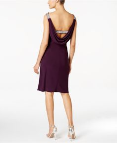 Alex Evenings Beaded Cowl-Back Cocktail Dress - Dresses - Women - Macy's