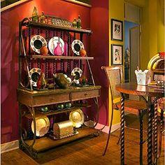Amish Kitchen Bakers Rack Tuscany Wrought Iron Wood Wine Buffet ...
