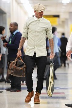 David Beckham wearing Red Wing Heritage Moc 6 Boots and Stetson Newsboy Cloth Hat