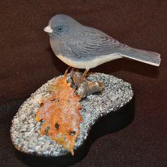 Junco Wood Carving handmade wood carving bird by leebrowncarvings, $700.00