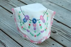 Vintage small embroidered floral dresser scarf, breast cancer fund