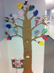 """This bulletin Board can be created around the children's book """"The Mitten Tree,"""" by Candace Christiansen."""