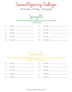 Seasonal Organizing Challenges - Join the fun and get organized by simply following along!