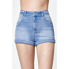Kendall & Kylie Sky Blue Super High Rise Shorty Denim Shorts ($45) ❤ liked on Polyvore featuring shorts, denim shorts, cuffed jean shorts, high-rise shorts, high waisted shorts and high-waisted denim shorts