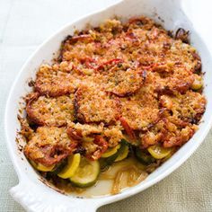 summer vegetable gratin with roasted  peppers and smoked mozzarella