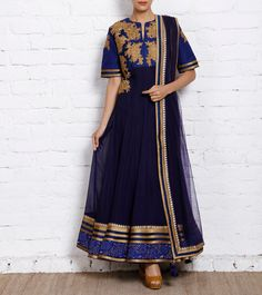 Blue Embroidered Chiffon Anarkali Today, every kid in the block and every designer worth his salt is aware of the empire lined, kalidar magnificence that has continued to dominate the bridal wear segment since it's inception.