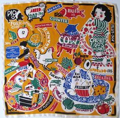 Calorie Counter Silk Scarf Michaele by 82ndStreetVintage on Etsy