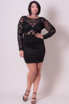 Plus Size Lace Crochet Dress - Black