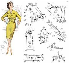 V neck dress pattern with collar Barbie Patterns, Easy Sewing Patterns, Coat Patterns, Vintage Sewing Patterns, Clothing Patterns, Dress Patterns, Barbie Vintage, Patron Vintage, Make Your Own Clothes