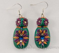 - SOLD- Polymer Clay Owl Earrings  Polymer Clay Flowers by Deidre Dreams
