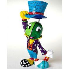 Disney Pinocchio Jiminy Cricket Hat Tip Statue by Romero Britto - Entertainment Earth Mickey Mouse Figurines, Disney Figurines, Collectible Figurines, Jiminy Cricket, Cricket Tv, Precious Moments, Graffiti Painting, Arte Pop, Disney Merchandise