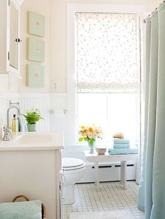 Neutral cottage bathroom, so cute light blue and white