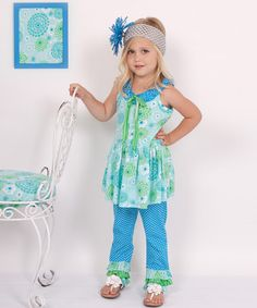 Take a look at this Island Green Floral Yoke Top & Pants - Infant, Toddler & Girls by Daisies on #zulily today!