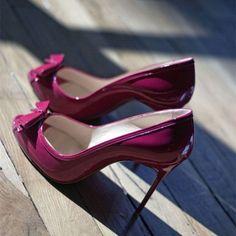 Women's Fuchsia Stiletto Heels Dress Shoes Cute Bows Peep Toe Heels image 1
