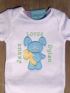 "Religious ""Jesus Loves"" Personalized, Monogrammed Easter or Spring Shirt or Onesie or Romper"