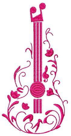 Guitar machine embroidery design. Machine embroidery design. www.embroideres.com