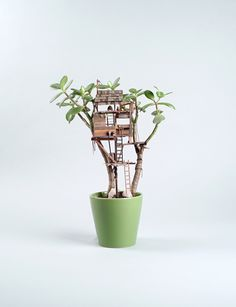 Miniature Tree Huts For House Plants