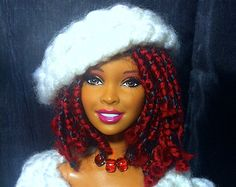 African Yarn Braids | African American Natural Hair Style Doll with Red Yarn Braids - For ...