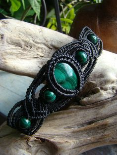 Natural Malachite Gemstone Micro Macrame Bracelet by Fossils2Art