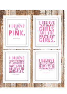 Audrey Hepburn quote I Believe in Pink 4 prints by TheEducatedOwl, $24.00