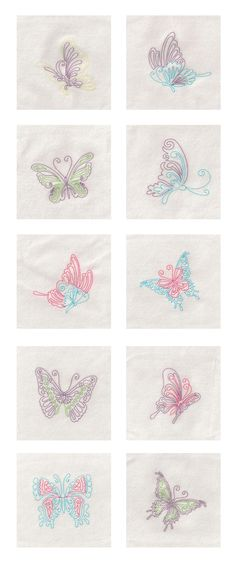 Colorwork Butterflies Embroidery Machine Design Details