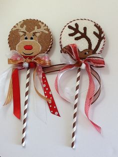 Sue M's reindeers on sticks, so cute. Finishing through Luv's 2 Stitch.