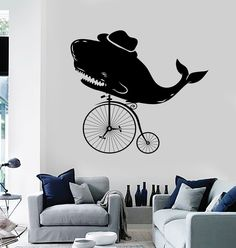 Vinyl Wall Decal Vintage Whale Velocipede Old Bicycle Stickers (ig4039)