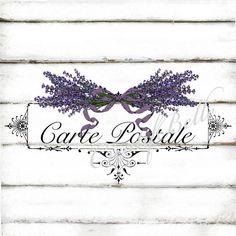 French Vintage Lavender Carte Postale Instant by CreatifBelle