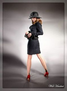 Red heels and a hat portrait