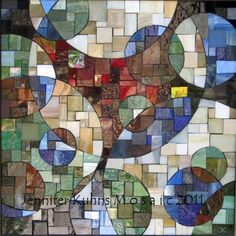 Square Circles by Jennifer Kuhns. Tile, shell, stained glass, smalti.