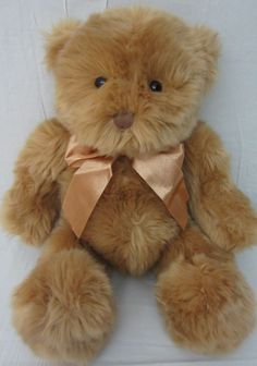 "15"" GUND BROWN TEDDY BEAR SOFT 43167 STUFFED ANIMAL PLUSH TOY RARE ORANGE BOW"