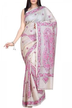 Beige & Pink Paisley Kantha Tussar Silk Saree