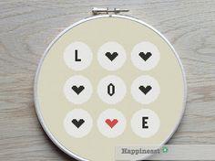 modern cross stitch pattern LOVE circles valentine par Happinesst